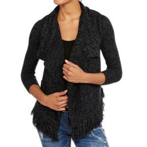 Charcoal fringe open cardigan sweater small